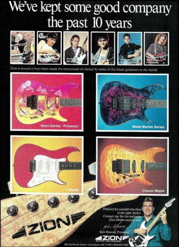 Zion Neon Pickasso Metal Marble Series T Model Classic Maple guitar ad print