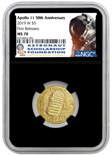 2019 W Apollo 11 50th $5 Gold Astronaut Commem NGC MS70 FR Black Core SKU57204