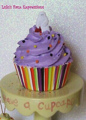 Faux CUPCAKES Fake Food HALLOWEEN GHOST w/ BAG purple stripes sprinkles - Halloween Cupcakes Ghost