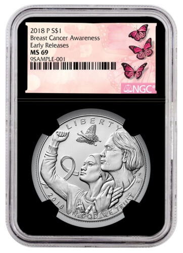 2018-P Breast Cancer Awareness Silver Dollar NGC MS69 ER Black Core SKU53227