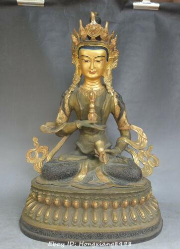 """18""""China Buddhism Bronze Painting Vajradhara Vajrabhairava Goddess Buddha statue"""