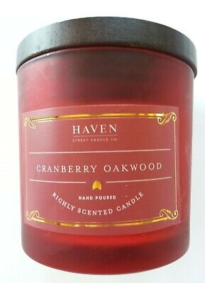 HAVEN STREET CANDLE CO. Cranberry Oakwood Candle Hand Poured Highly Scented 5oz 5 Ounce Poured Candle