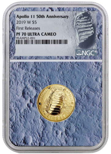 2019 W Apollo 11 50th Annv $5 Gold Commem NGC PF70 FR Moon Core SKU56546