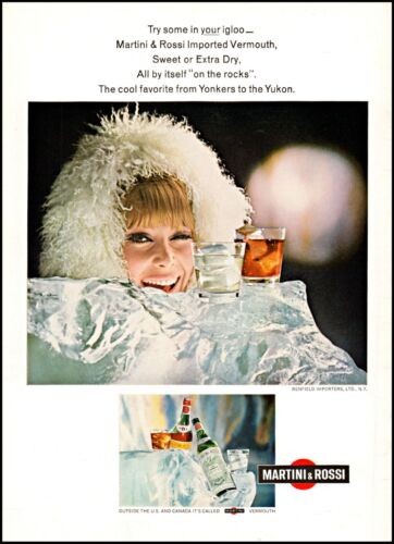 1968 Yukon woman in ice Martini & Rossi gin vermouth photo Print Ad ads30