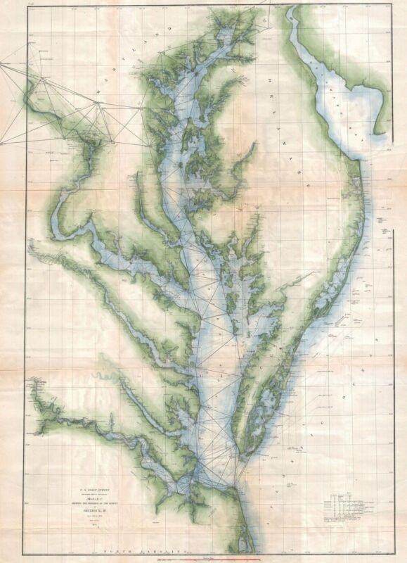 1873 Coastal Survey map Chart the Chesapeake Bay and Delaware Bay