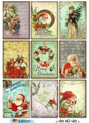 9 Vintage Christmas Ephemera Santa Hang Tags Scrapbooking Paper Crafts (305)