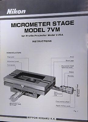 Nikon Profile Projector Stage 7vm For Model V-20a