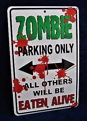 ZOMBIE Parking -*US MADE* Embossed Sign -Man Cave Garage Shop Bar Pub Wall Decor - Zombie Pub