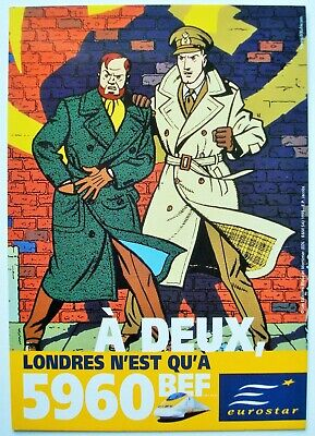 Blake et Mortimer. - Carte publicitaire train Eurostar.