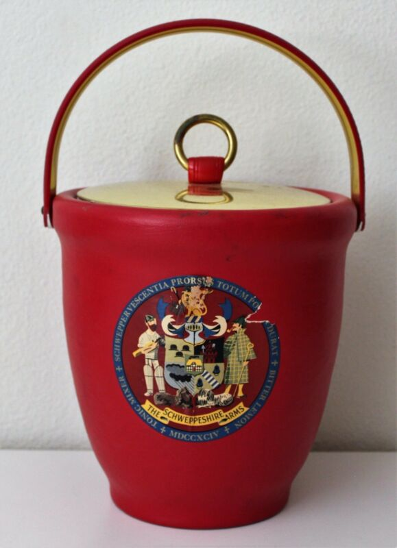 Vintage - Schweppeshire Arms - Red/Gold Ice Bucket Cooler Schweppes Collectible