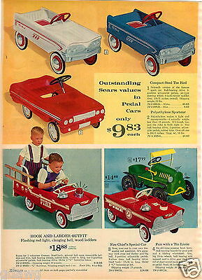 1964 PAPER AD 3 PG Sears Tee Bird Pedal Car Allstate Sportster Electric Go Cart