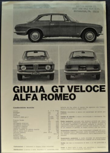 1967 Alfa Romeo Giulia GT Veloce Brochure Sheet 4-Language Text Nice Original 67