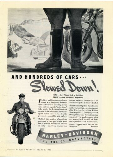1941 Harley Davidson Motorcycles Ad: HD Police Models - THE POLICE MOTORCYCLE