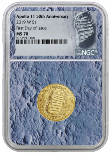 2019 W Apollo 11 50th $5 Gold Commem NGC MS70 FDI Moon Core with Patch SKU56518