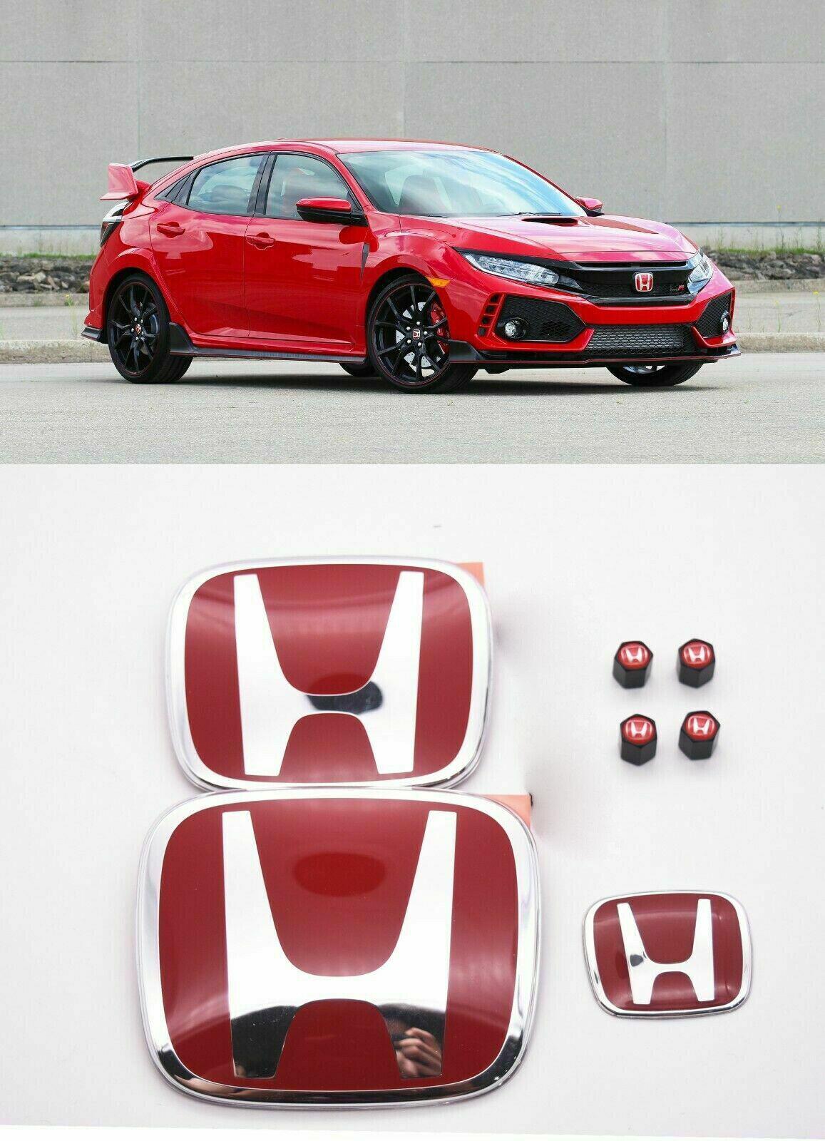 RACING SET Red H Emblem Front Rear Steering Fit 2016-21 HONDA CIVIC HATCHBACK