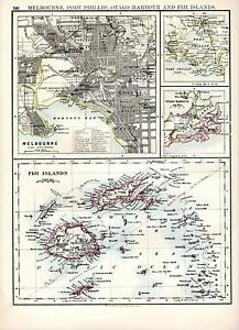 1904-MAP-MELBOURNE-ENVIRONS-FIJI-ISLANDS-PORT-PHILLIP-OTAGO-HARBOUR