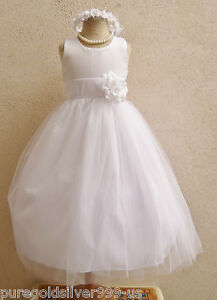 WHITE-WITH-COLOR-SASH-TULLE-BRIDAL-PARTY-PAGEANT-RECITAL-GOWN-FLOWER-GIRL-DRESS