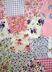 100 Pink & Purple Fabric Patchwork Squares / Remnants 4