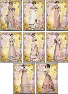 Vintage-inspired-regency-Jane-Austen-cards-tag-ATC-altered-art-set-of-8