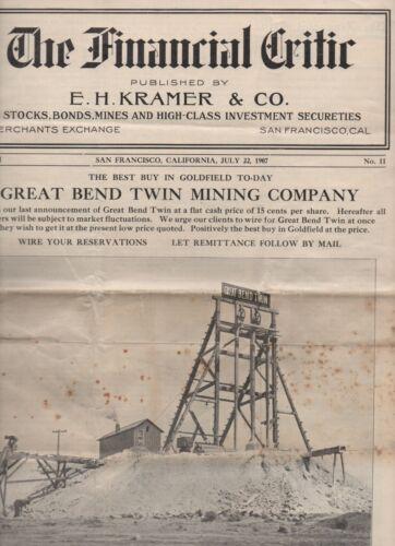 "1907 Magazine "" The Financial Critic "" SF CA Dedicated to Goldfield Nevada Mine"
