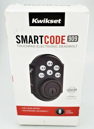 Kwikset Smart Code 909 Touchpad Electronic Deadbolt Bronze In Box Good Shape