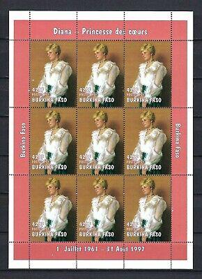 Burkina Faso 1997 Sc#1126  Princess Diana  M/S of Nine Stamps  MNH-$1.60 Each