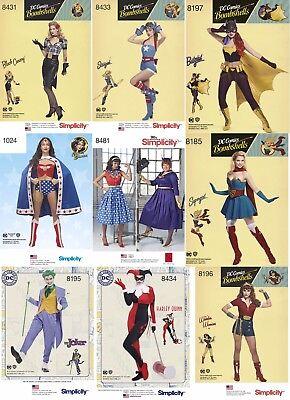 Simplicity Sewing Patterns DC Comics Costumes Joker Batgirl Wonder Woman Retro K - Retro Batgirl Costume