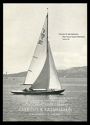 Grosse Werbung 1956 Nationaler Kreuzer Stromer Werft Abeking & Rasmussen Bremen
