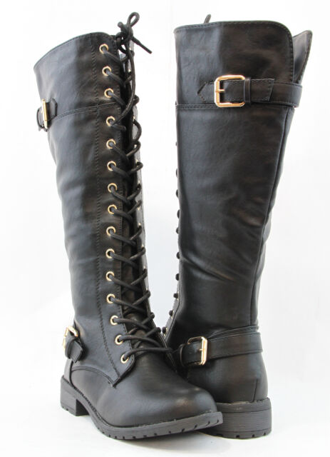 Women Knee High Lace up Fashion Military Combat BOOTS Riding Style ...