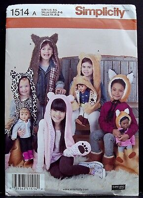 Simplicity Girl Animal Hat Tiger Fox Bear Halloween Costume Sewing Pattern 1514