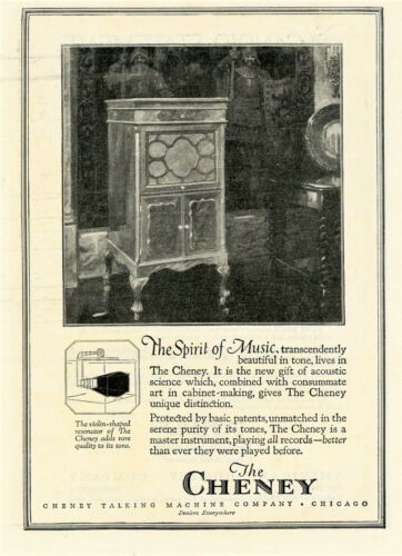 1920 Vintage Orig CHENEY Phonograph Ad. Violin Shaped Resonator. All Records