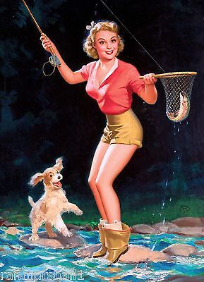 1940s Pin-Up Girl I Caught a Fish with Puppy Dog 10x13.5 Poster Pin Up Vintage  - Puppy Posters