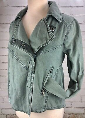 Free People Linen Moto Jacket Snap Front Green Size XS
