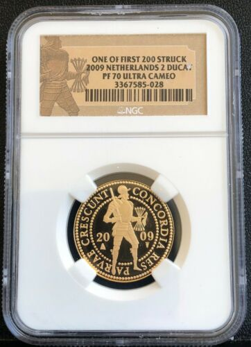 Netherlands 2009 Gold 2 Ducat NGC PF70 Ultra Cameo Mintage - One first 200