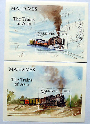 Trains Of Asia,  Miniature Sheets From Maldives, Two Unmounted Mint Sheets.