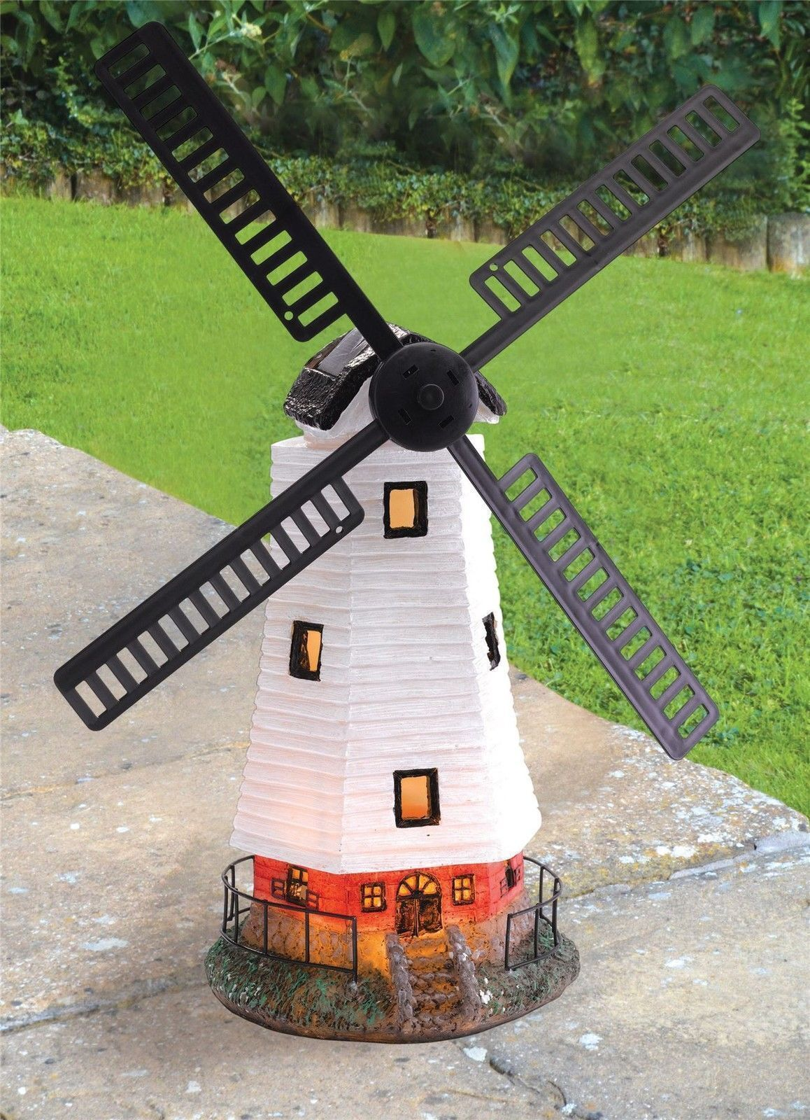 new large solar powered led motion light windmill garden. Black Bedroom Furniture Sets. Home Design Ideas
