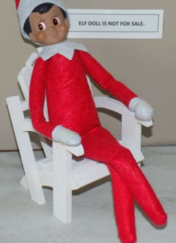 CHRISTMAS ELF PROPS WHITE WOOD BEACH CHAIR ON THE SHELF FURNITURE TOYS ACCESSORY