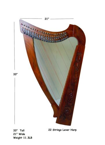 Handmade Rosewood 22 Strings Lever Harp with free Strings, Tuning Key and Bag