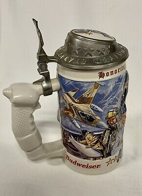 BUDWEISER AIR FORCE LIDDED BEER STEIN 1999 HONORING TRADITION AND COURAGE @@@@@@