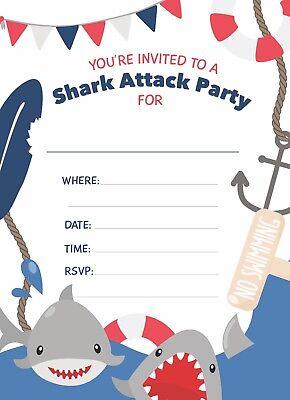 Shark Happy Birthday Invitations 25 ct w/ Envelopes + Seal Boys Girls Party