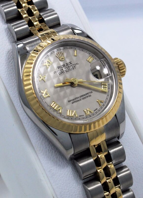 Rolex Datejust 69173 Jubille 18K Yellow Gold & SS Pyramid Dial Ladies Watch MINT
