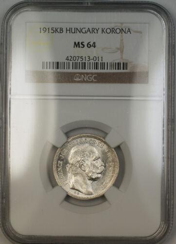 1915-KB Hungary Silver Korona Coin NGC MS-64 (A)