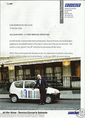 Fiat Seicento Terence Conran All Bar One Orignal Press Photograph & Notes