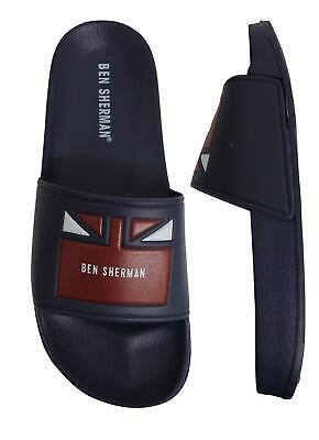 Ben Sherman Jet Slide Mens Slip On Flip Flop Sliders Sandals BEN3201 005 Navy