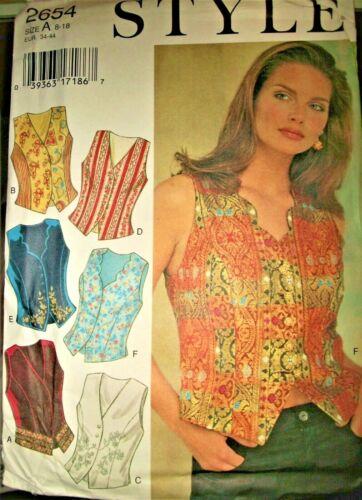 Miss Style 2654 Pattern Vests Neck Variations UNCUT FF Size 8-10-12-14-16-18