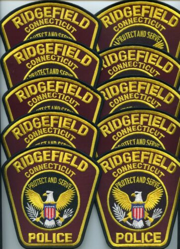 RIDGEFIELD CONNECTICUT Patch Lot Trade Stock 10 Police Patches POLICE PATCH