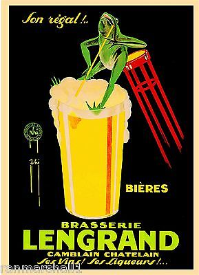 Brasserie Lengrand Frog Liqueur Wine Beer Vintage Advertisement Art Poster Print