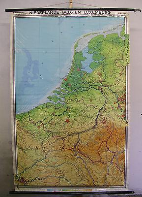 Schulwandkarte Beautiful Old Belgium Netherlands Luxembourg 134x207cm Vintage