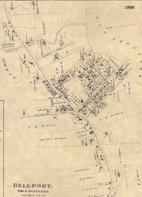 Bellport Yaphank East Patchogue NY 1888 Maps with Homeowners Names Shown