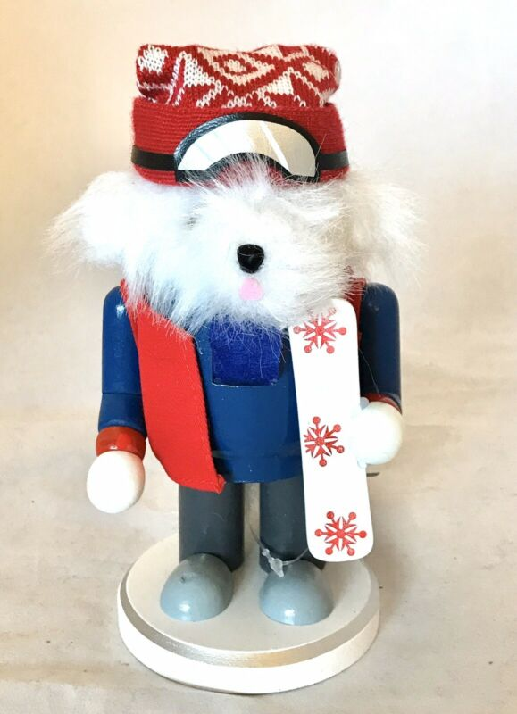 New Snowboarding Skier Bear Wooden Nutcracker Christmas Decor Whimsical Red